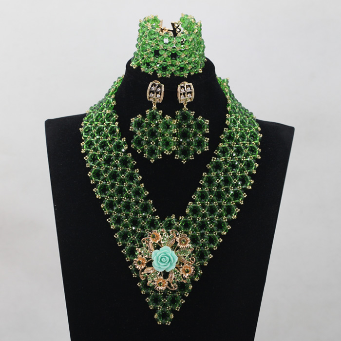 Splendid Leaf Green Crystal Costume Jewelry Set African Nigerian Beads Bridal Events Jewelry Set Free Shipping QW947 500g natural organic moringa leaf pow der green pow der 80 mesh free shipping