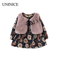 UNINICE Baby Girls Dress Winter Thicken Girl Long Sleeve Print Dress Faux Fur Vest 2pcs Infant