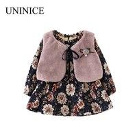 UNINICE Baby Girls Dress Winter Thicken Girl Long Sleeve Print Dress Faux Fur Vest 2pcs Infant