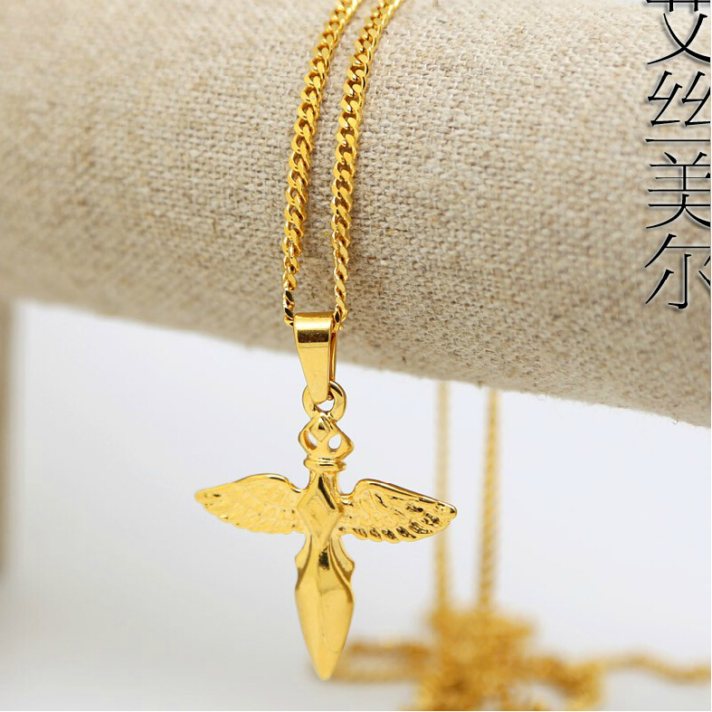 Jhnby angel wings charm pendant high quality fashion hiphop gold jhnby angel wings charm pendant high quality fashion hiphop gold color 60cm long chain statement necklace men jewelry bijouterie in chain necklaces from aloadofball Images