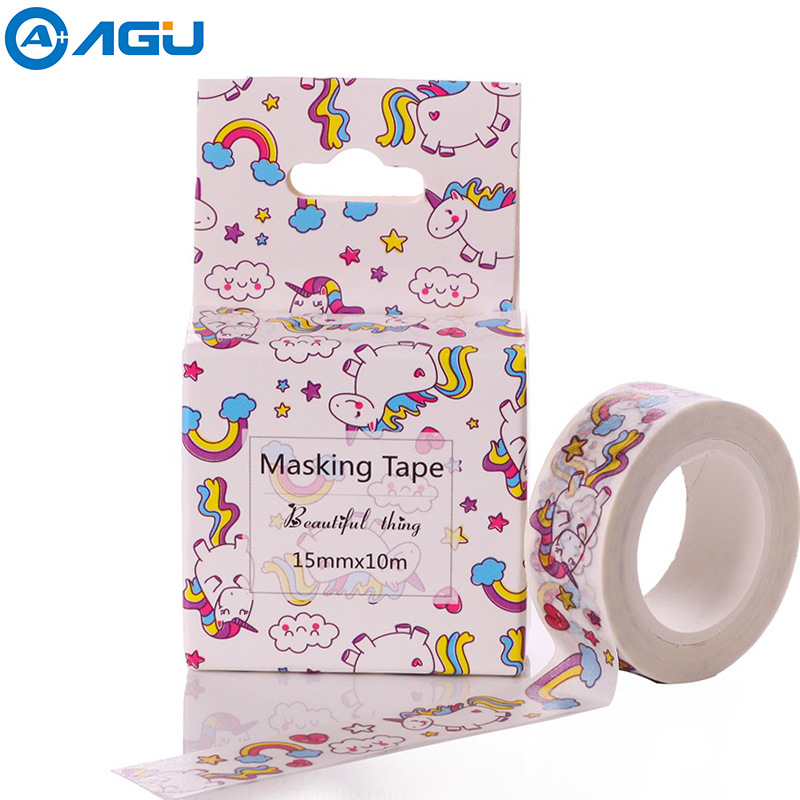 AAGU 24 Patterns 15mm*10m Box Package Unicorn Washi Tape Excellent Quality Colorful Paper Tape Cute Animal Washi Masking Tape diy 24 national flag patterns electric paper airplane module toy multicolored