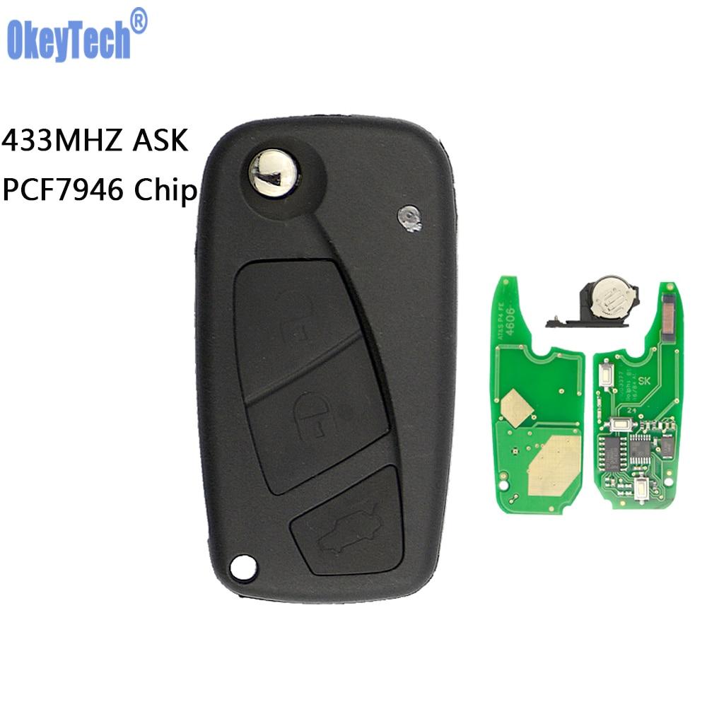 OkeyTech 433MHz PCF7946 Chip 3 Button Flip Remote Car Key Fob For Fiat Punto Ducato Stilo Panda Replacement Car Key Uncut Blade Car Key     - title=