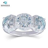 DovEggs Романтический 3 обручальное кольцо с камнем для женщин 3CTW 6,5 мм небольшой синий Муассанит кольцо платиновым покрытием стерлингового се
