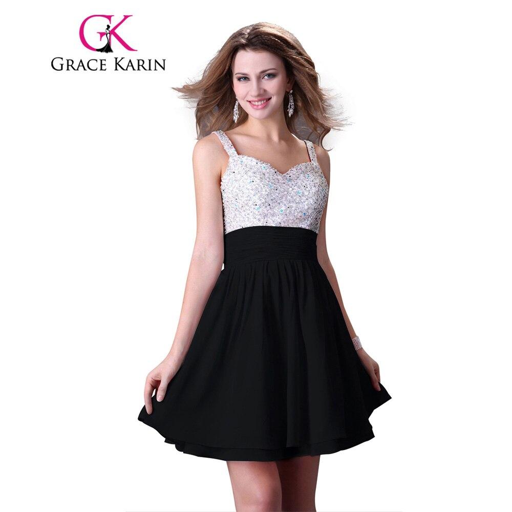 Black Dress Grace Karin 2017 Sexy Short Bling Sequins Beading