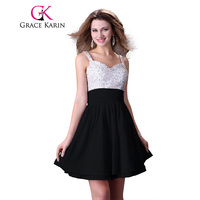 Little Black Dress Grace Karin 2015 Sexy Short Bling Sequins Beading Cocktail Dresses High Low Party