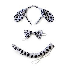 Cute Animals Cosplay Costume Sets Kids Adult Large Dalmatian Spotty Dog Ears Headband Plush Tail Bowtie Halloween Party Favor недорого