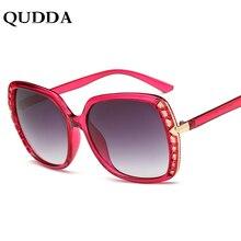 c324ff226be QUDDA 2018 Italy Brand Designer Clear Pink Square Sunglasses Rihanna Luxury  Pearl