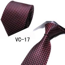 New Business Dress Men Ties High-Grade Wine Red Check Luxury Bow Tie Men Wedding Tie 8cm Polyester Silk Geometric Jacquard Tie