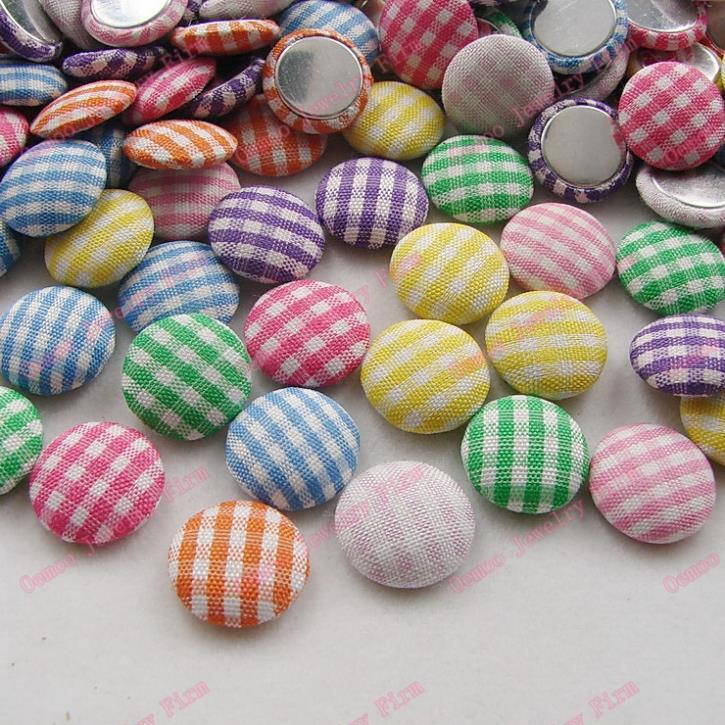 100pcs font b tartan b font cloth button Mixed color check fabric covered button round 16mm