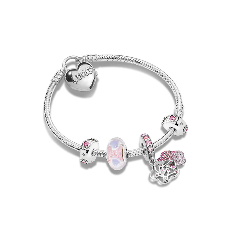 New 925 Sterling Silver Peach Blossoms Flower Knotted Heart Charm Set Bracelet Fit  Original Women Charm Bracelet DIY JewelryNew 925 Sterling Silver Peach Blossoms Flower Knotted Heart Charm Set Bracelet Fit  Original Women Charm Bracelet DIY Jewelry