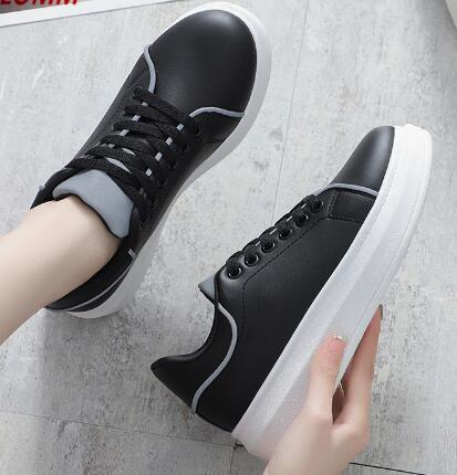 2019 fashion women's sports shoes white thick soled casual shoes women's vulcanized women's thick lace sports star shoes