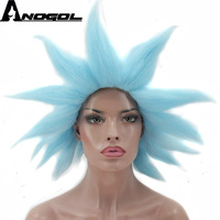 Anogol Short Straight Rick Spiky Sky Blue Synthetic Costume Cosplay Wig For Halloween Party