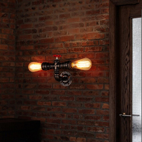 American Country Loft Style Wall Lamp Industrial Water Pipe Sconces Vintage Wall Light  For Home Lightings Lampara Pared,E27*2 насос ручной hi output hand pump 30 см intex 68612