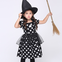 Baby Girl Cosplay Cute Black Dot Dress Set Performance Clothing Cotton + Hat Free Delivery EK128