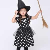 Bambino Ragazza di Cosplay Nero Sveglio Dot Dress Set Vestiti di Prestazione Set Del Cotone Del Vestito + Cappello Consegna Gratuita EK128