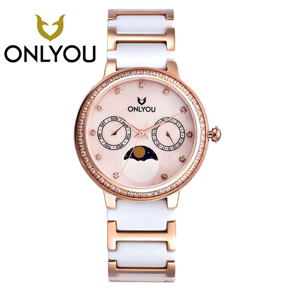 ONLYOU2017 Diamond Ladies Ceramic Watch Luxury Brand Rose Gold Bracelet Watches with Fine Steel Strap Womens Watches Wholesales new original sinobi brand women s watch fine steel strap ladies luxury bracelet watches with clover dial