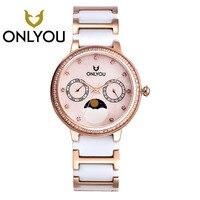 Onlyou2017 Алмазный женские Керамика часы Элитный бренд розового золота браслет Часы с тонкой Сталь ремень женский Часы оптовая продажа
