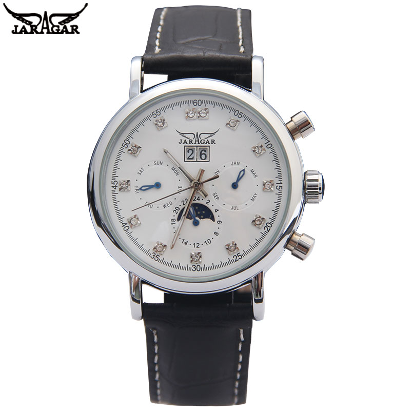 Jaragar Brand Men Automatic Mechanical Watch Men's Casual Moon Phase Calendar Watches 24H Auto Date Rhinestone Clock цена и фото