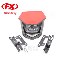 FX Universal Motorcycle Headlight Headlamp With H4 Bulb For STREETFIGHTER ENDURO KLX KDX KMX KTM