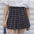 Instituto vento Europeus e Americanos estilo ocasional das mulheres de todos os jogo de cintura alta plissada xadrez bonito a linha de saia para as meninas