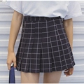 women's casual European and American style Institute wind all-match high waist pleated plaid cute a-line skirt for girls
