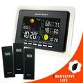 Estação meteorológica de Alarme Indicador de Temperatura e Umidade + 3 Sensores de Alarme Sem Fio 8 Teclas de Função