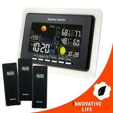 Stacja pogodowa Temperatury i Wilgotności Wskaźnik Alarmu + 3 Czujników Bezprzewodowych Alarmowy 8 Klawiszy Funkcyjnych
