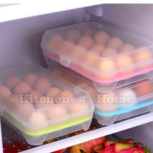 Hot Sale 15 Grid Portable Egg Tray Refrigerator Container Storage Box For  Keep Eggs Fresh Kitchen Gadgets Items Supplies K403