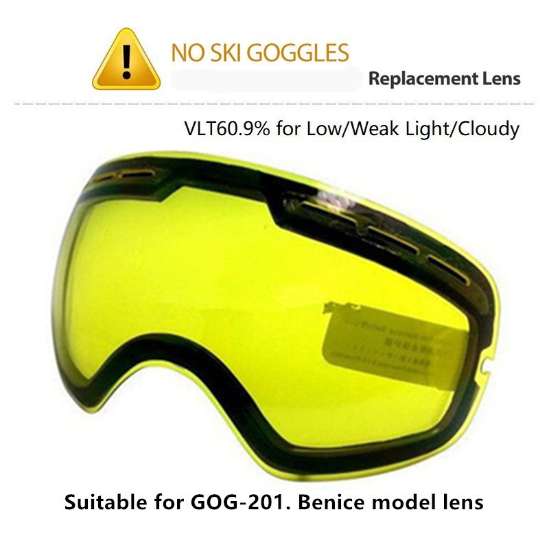 Original Brightening Lens Snowboard Goggles Lens Yellow Night Vision Ski Glasses Lens Big Spherical Suitable For Benice GOG-201