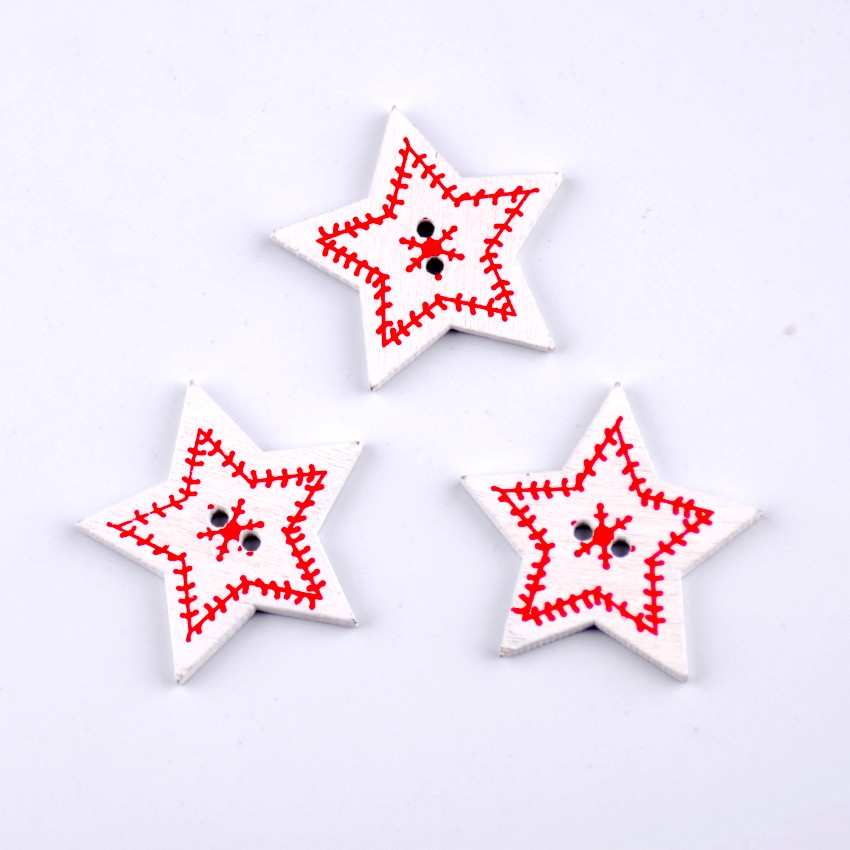 ᐃEnvío libre-random 50 unids mezclado 2 agujeros Pentagram Navidad ...