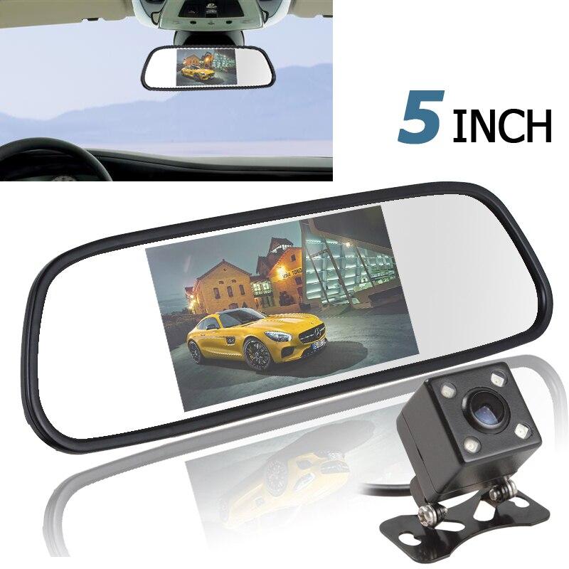 5 дюймов Цвет TFT ЖК-дисплей зеркало автомобиля Мониторы Авто заднего Парковка Мониторы + 170 градусов Ночное Видение заднего вида обратный Камера