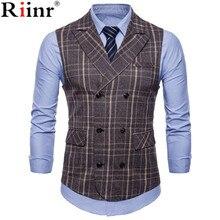 Бренд riinr, полосатый мужской однобортный Свадебный костюм, жилеты, подходят для мужчин, без рукавов, деловые жилеты, без рубашки, платья, жилеты, Осенние