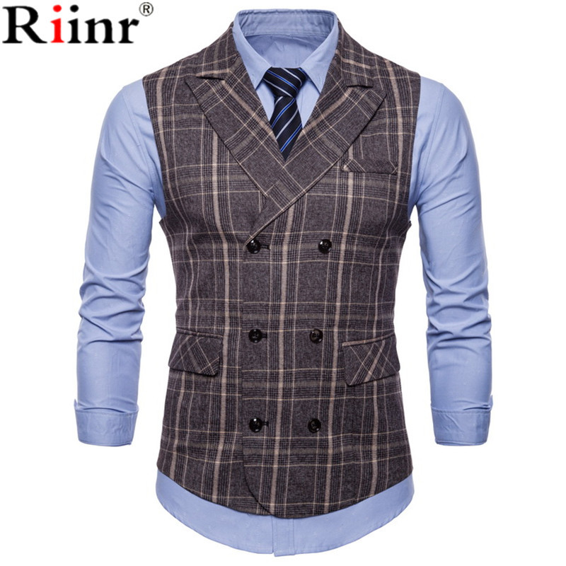 Riinr Brand Striped Men Doouble Breasted Wedding Suit Vests Fit Men Sleeveless Business Vests No Shirts Dress Vests Autumn