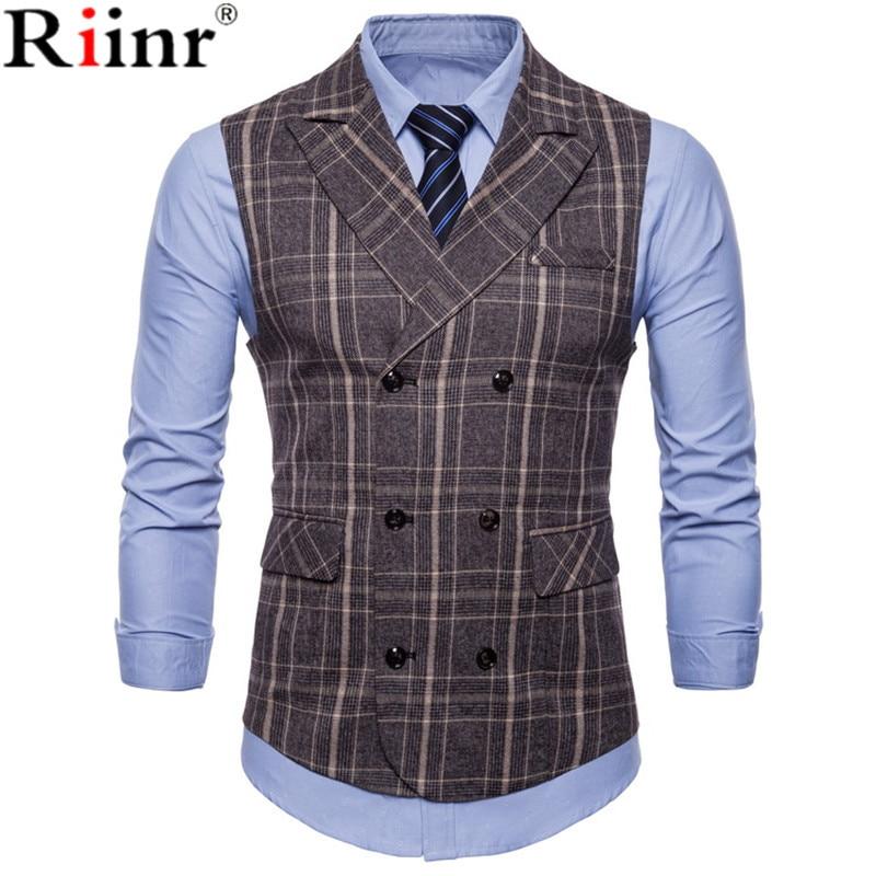 Riinr Brand Striped Men Doouble Breasted Wedding Suit Vests Fit Men Sleeveless Business Vests No Shirts Dress Vests Autumn