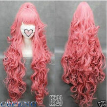 HOT 100cmVOCALOI D-Megurine Luka PINK Anime Cosplay wg+1Clip On Ponytail WX free shipping