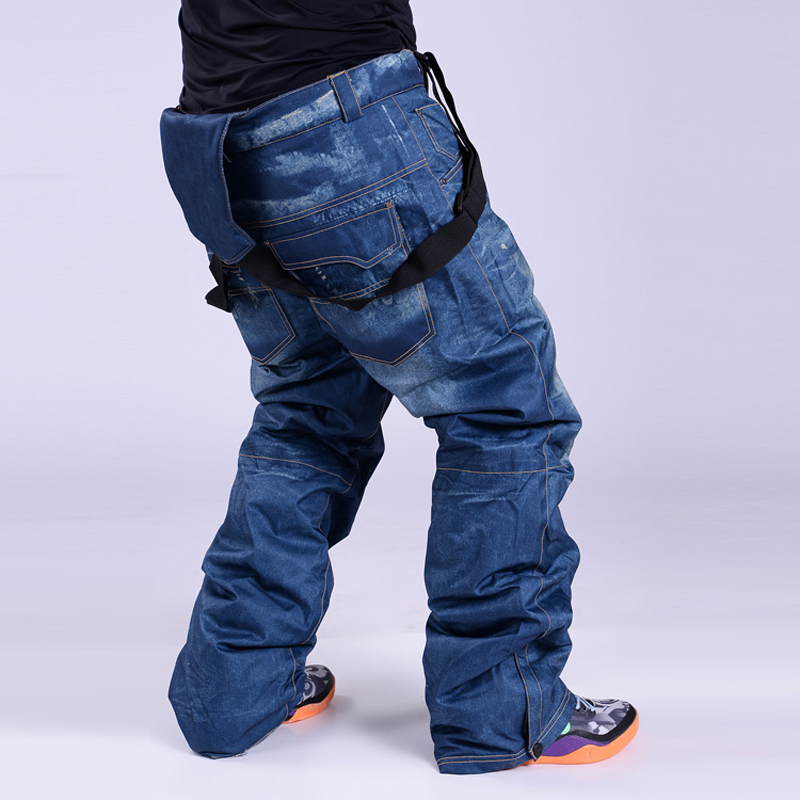 Top Qualité Neige Hommes Denim Homme Pantalon De Ski Imperméable En Plein Air Sportwear Chaud Ski Bretelles Pantalon Ceinture de Neige Imperméables Pantalon