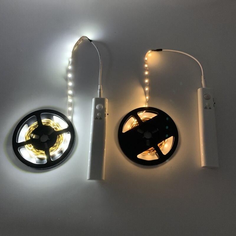 PIR Wireless Motion Sensor LED Night Light Bed Cabinet Stairs Sensor Light Luminaria USB5V LED Strip Night Lamp For TV Backlight