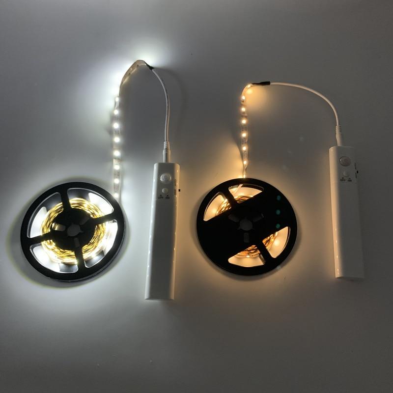 PIR sans fil détecteur de mouvement LED veilleuse lit armoire escalier capteur lumière luminaria USB5V LED bande nuit lampe pour TV rétro-éclairage