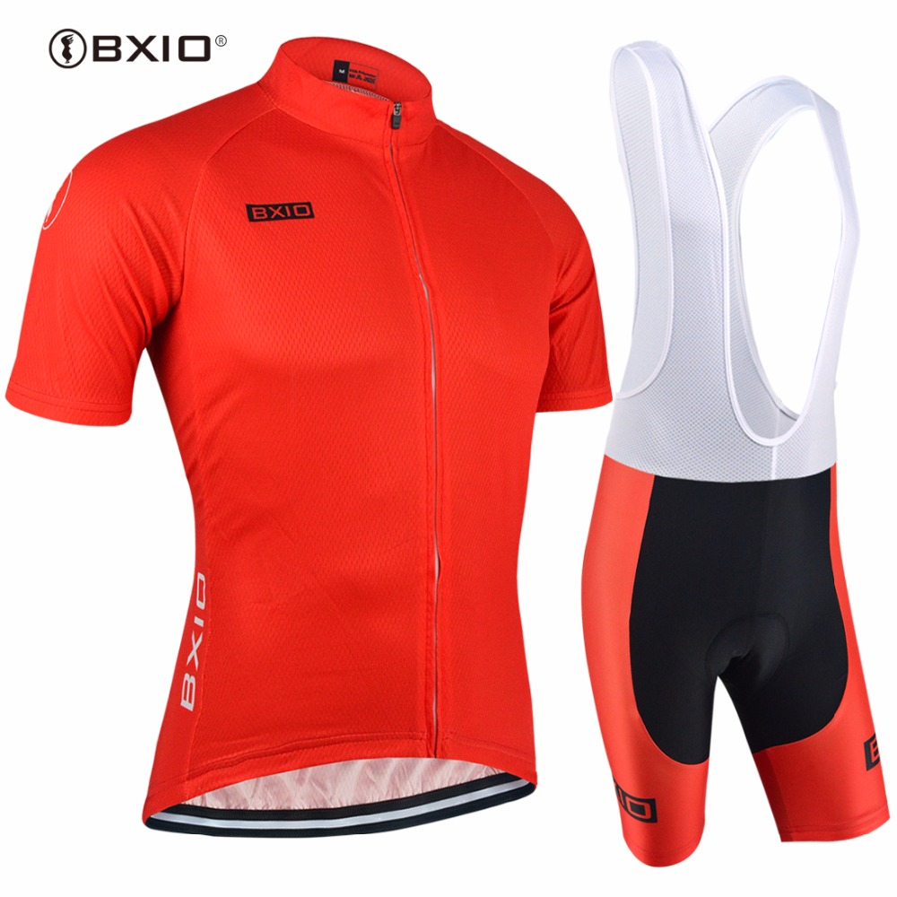 BXIO Brand Pro Team Red Breathable Mesh Cycling Clothing Full Zipper Short Sleeve Bicycle Clothing Summer