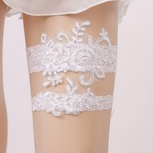 38a0494e10 2 unids set Liga blanca de la novia del cordón de La Perla Sexy ligas  ceremonia de matrimonio novia pierna anillo cinturón Suspe.