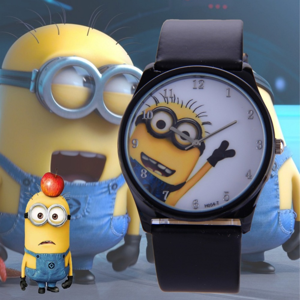 Popular new fashion cute cartoon children casual watch despicable me minions quartz leather for Despicable watches