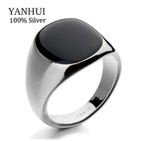 YANHUI Hot Sale Fashion Men's Black Wedding Rings For Men With 18KRGP Stamp Gold Color Black Onyx Stone Ring Men Jewelry R0378