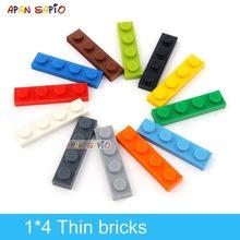 120 adet DIY yapı taşları ince rakamlar tuğla 1x4 nokta eğitim yaratıcı boyutu lego ile uyumlu plastik oyuncaklar çocuklar için