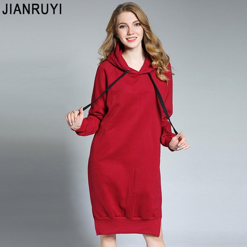 JIANRUYI 2017 New winter Fashion casual dress Cap sweater dress Thicken and keep warm XL-4XL