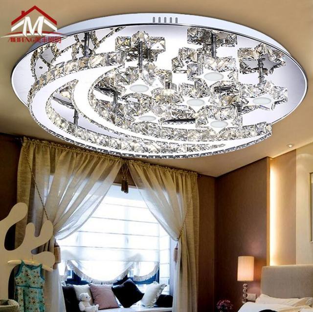 Modernen Minimalistischen Runde Kristall Deckenleuchte Kreative LED Sterne  Mond Wohnzimmer Deckenleuchte Edelstahl Restaurant LichterUS $199.99