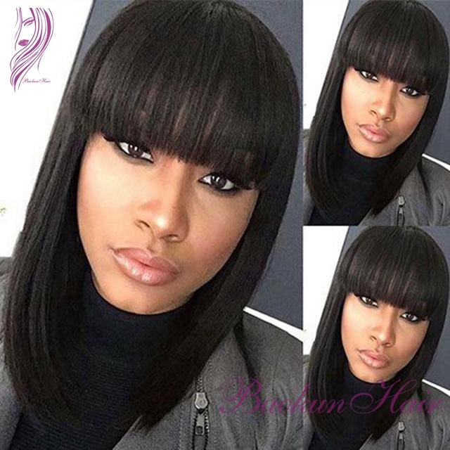 2017 Brazilian Hair Short Bob Wigs With Bangs Synthetic Lace Front Wigs Heat Resistant Synthetic Hair Cheap Black None lace Wigs