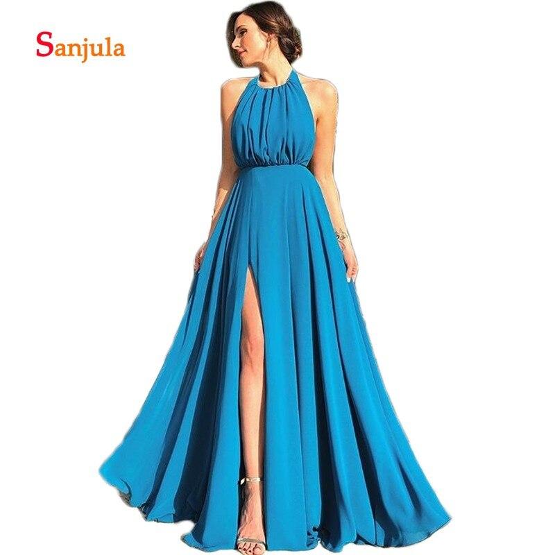 Robes de bal en mousseline de soie bleu océan a-ligne licou jambe fente Sexy robes de bal longue dos nu formelle robe de soirée pour les femmes D1061