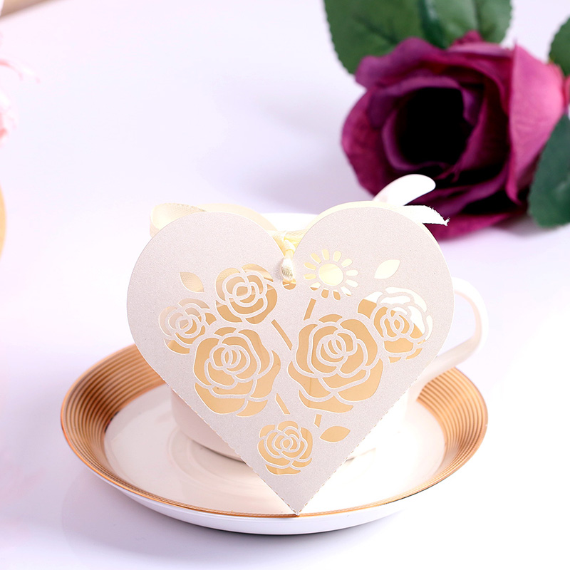 12Rosette Laser Cut Heart-Shaped Wedding Favor Boxes Candy Box Casamento Favors Gifts wedding supplies - H&D Crystal store