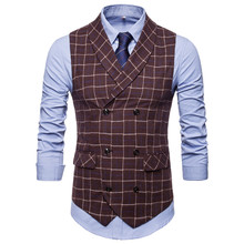 цена Suit vest autumn new men's double-breasted plaid suit vest S-4XL men's self-cultivation business casual large size suit vest онлайн в 2017 году