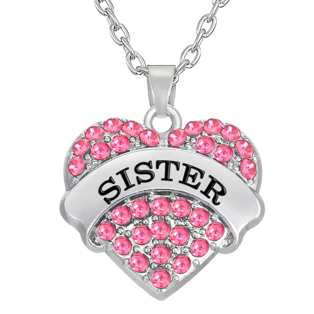 my shape Pink Crystal Heart Sister Pendant Family Friendship BFF Necklace Silver Plated Jewelry